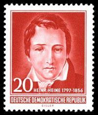 Portrait von Heinrich Heine auf Briefmarke der DDR von 1956