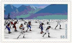 Biathlon-WM Ruhpoling deutsche Briefmarke