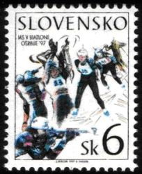 slowakische Briefmarke Biathlon