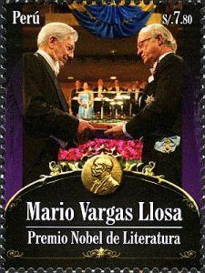 Nobelpreisverleihung an Mario Vargas Llosa auf Briefmarke aus Peru