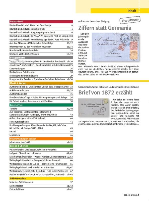 DBZ 1-2018 Deutsche Briefmarken Zeitung Norddeutscher Postbezirk Ziffern Germania Inhalt