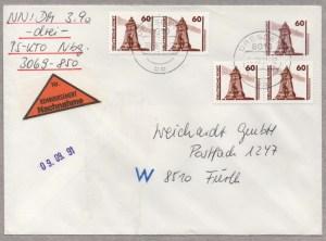 Raetselhafte Standardbrief Nachnahme Deutschland BRD DDR Wiedervereinigung