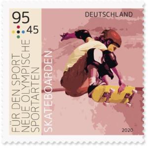 Briefmarke Deutschland Skateboard