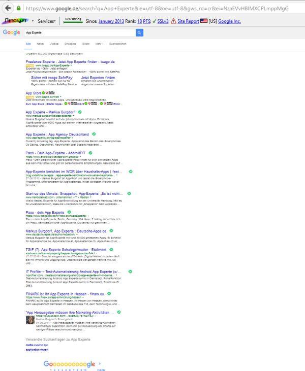 Platz 1, Platz 2, Platz 4 und zwei weitere Suchergebnisse für App Experte verweisen auf Markus Burgdorf.
