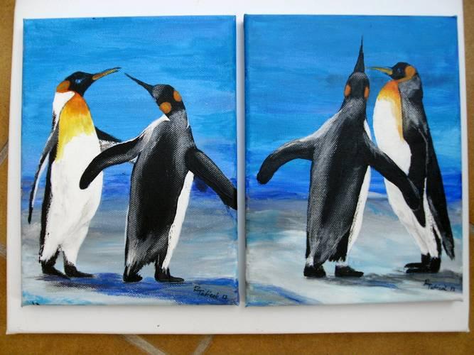 Zwei Pinguin-Pärchen    40x50