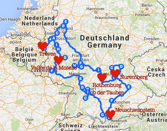 Carte Allemagne avec coeurs