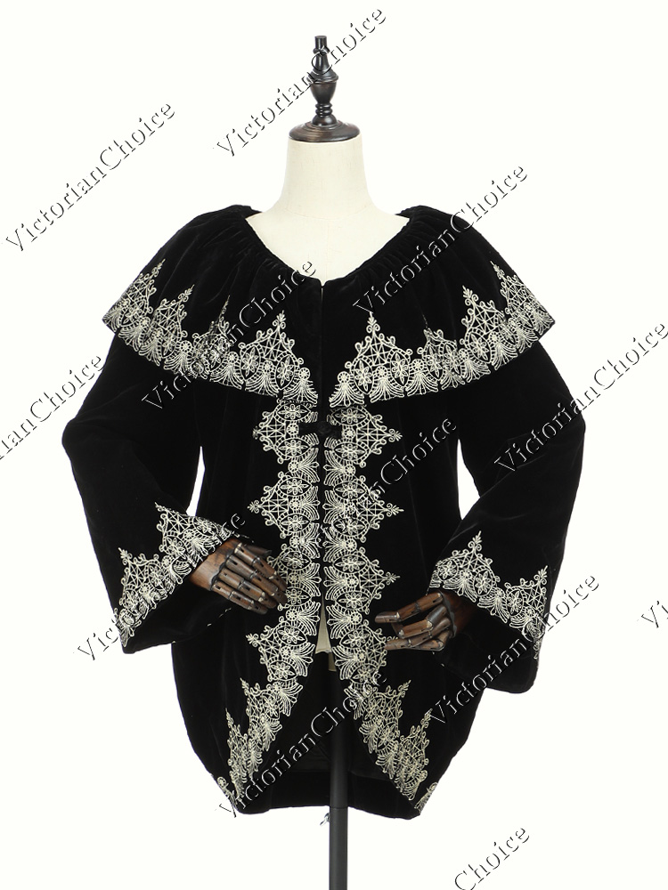 Victorian Edwardian Gothic Gown Punk Theater Reenactment Clothing D187 N NAVY
