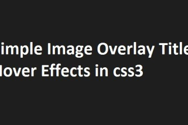 Simple Image Overlay - css