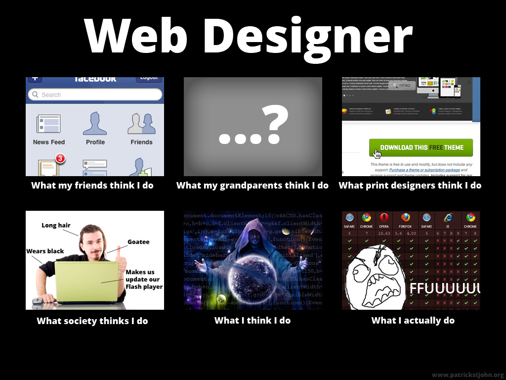 what people think i do what i really do web designer what people think i do developer memes