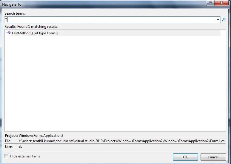 Visual Studio 2010 - Navigate To feature