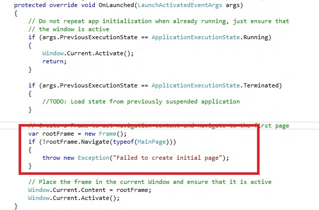 How to change the Start page of the Windows 8 App in Visual Studio 2012 ?