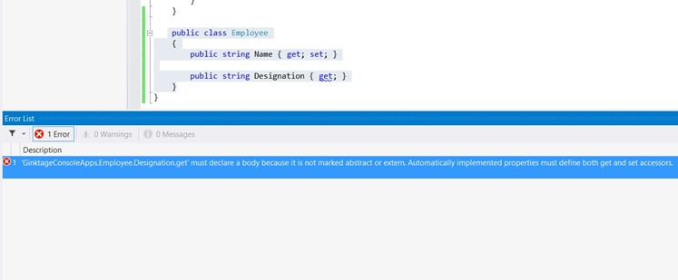 Automatically implemented properties must define both get and set accessors in C#