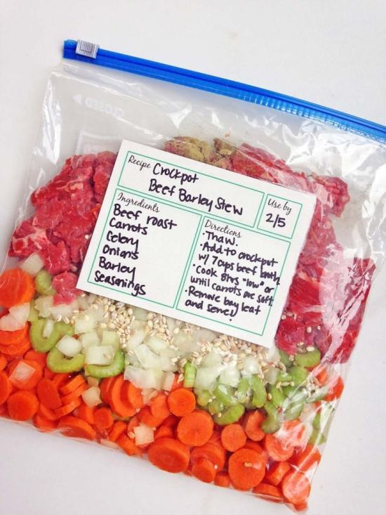 One of the healthies make ahead freezer slow cooker meals you can make is the Freezer Crock-Pot Beef Stew.