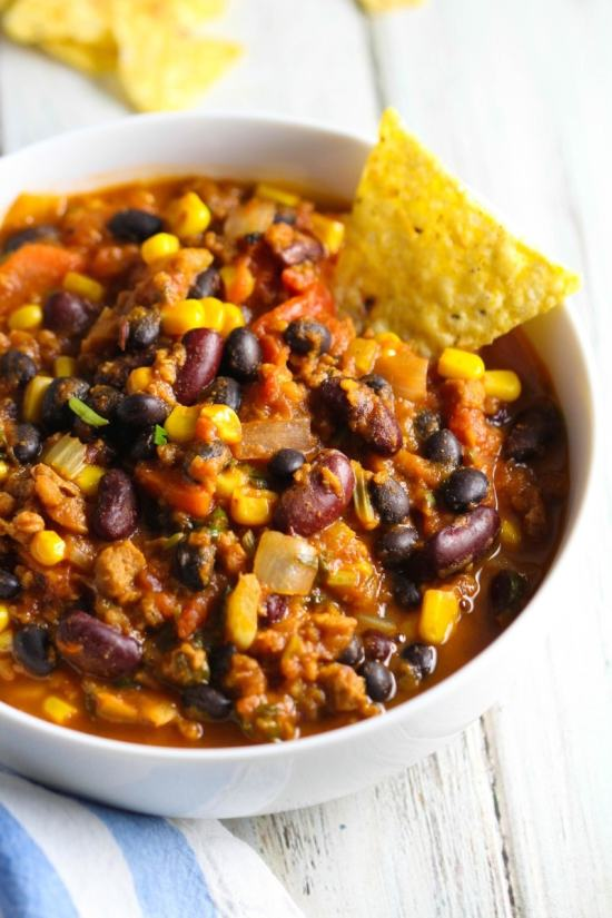 Freeze some vegan chili when you don't have time to cook.