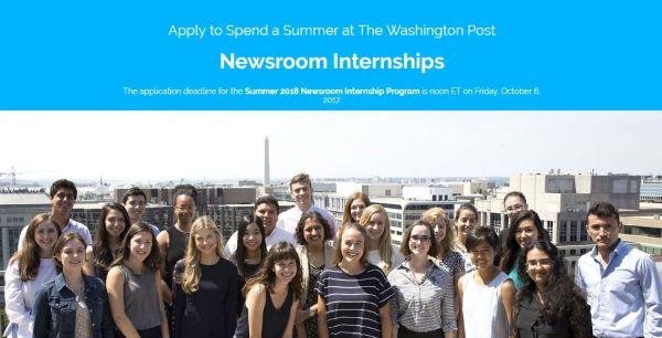 The Washington Post Summer Newsroom Internship for Junior Senior or Graduate