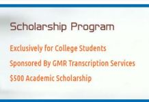 GMR Transcription Academic Scholarship Program