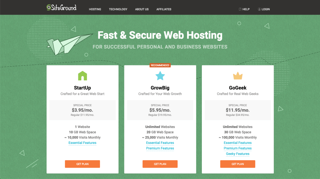 SiteGround has three shared hosting plans offering big 60% discount for new customers for first year.