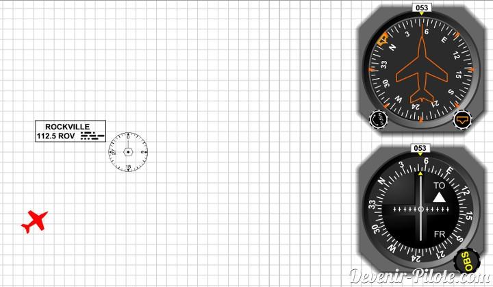 3 - On prend le cap similaire au radial, pour se diriger vers la balise VOR