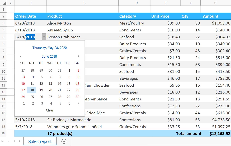 Spreadsheet Control