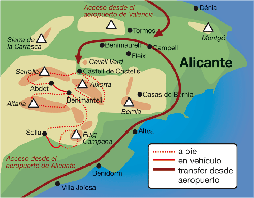 mapa ruta sierra aitana