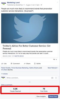 fb provides web page Admins quick View Of reach & click Stats