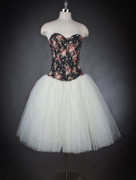 Flower Dress And White Black
