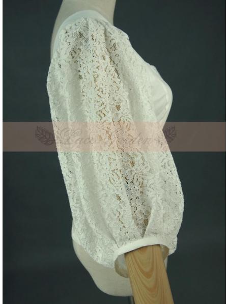 White Vintage Bubble Sleeves Blouse