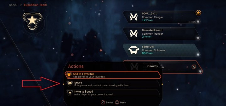 Anthem: Cortex, schermata Squadra