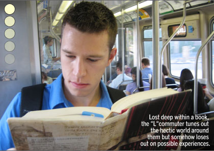 Commuters share no bonds, Devin ignores the other commuters while reading a book on the L train