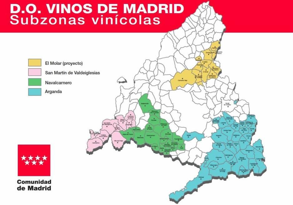 Mapa de la D.O. Vinos de Madrid con las 4 subzonas: Arganda del Rey, Navalcarnero, San Martín de Valdeiglesias y El Molar. Copyright: Comunidad de Madrid