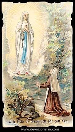 [Estampa religiosa de la Virgen de Lourdes]