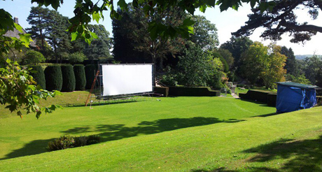 Outdoor screen at the Tiltyard, Dartington, Devon