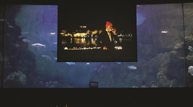 Wes Anderson's The Life Aquatic with Steve Zissou will be screened with the huge fish tank at the National Marine Aquarium