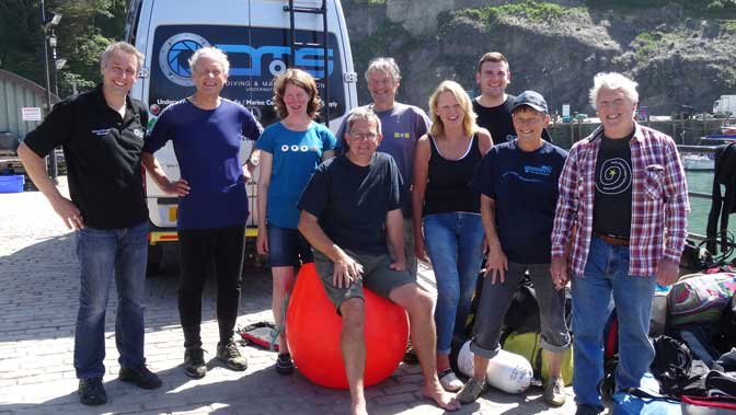ILFSAC, Seasearch members and camera crew after a successful mission – /back in harbour courtesy of Jo Stewart-Smith