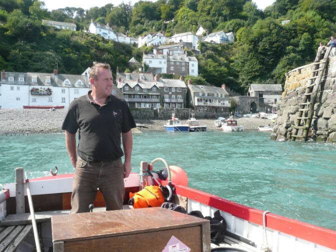 Stephen Perham leaving harbour in Dad's old boat Neptune. Courtesy of Jo Stewart-Smith
