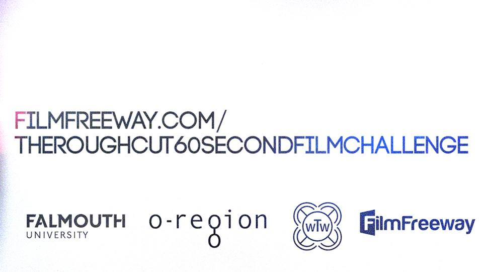 The Roughcut 60 Second words on logos of Falmouth Uni, o-region and Film Freeway