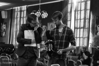 Director John Tomkins and director of Photography Jacob Brandon discuss a shot on set