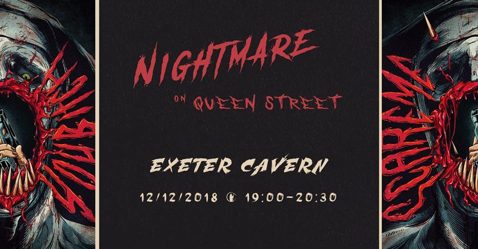 Exeter Horror pop up event Nightmare on Queen Street banner.