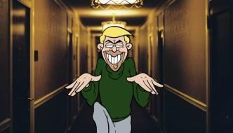 doozy still with the cartoon character creeping down a hall way