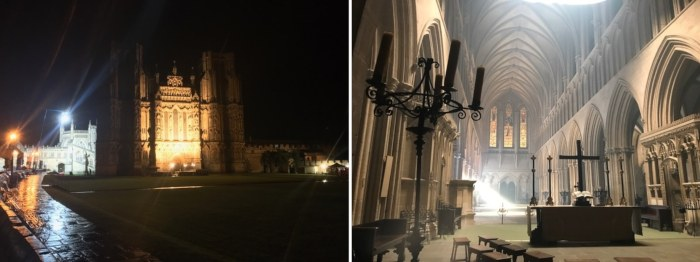 two shots of a darkly foreboding Wells Cathedral inside and out in the dark