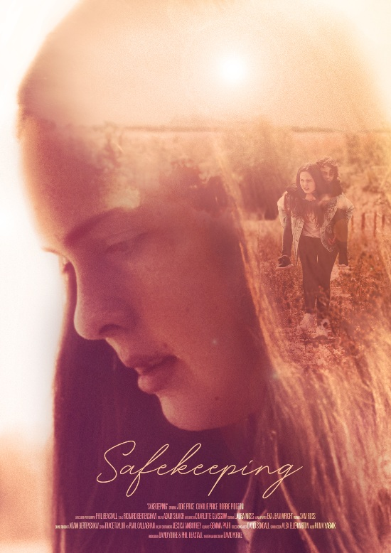 the safekeeping poster; a picture of a girls' face and some softer merged in images of the girl giving a boy a piggy back withe the title of the film in a light script font