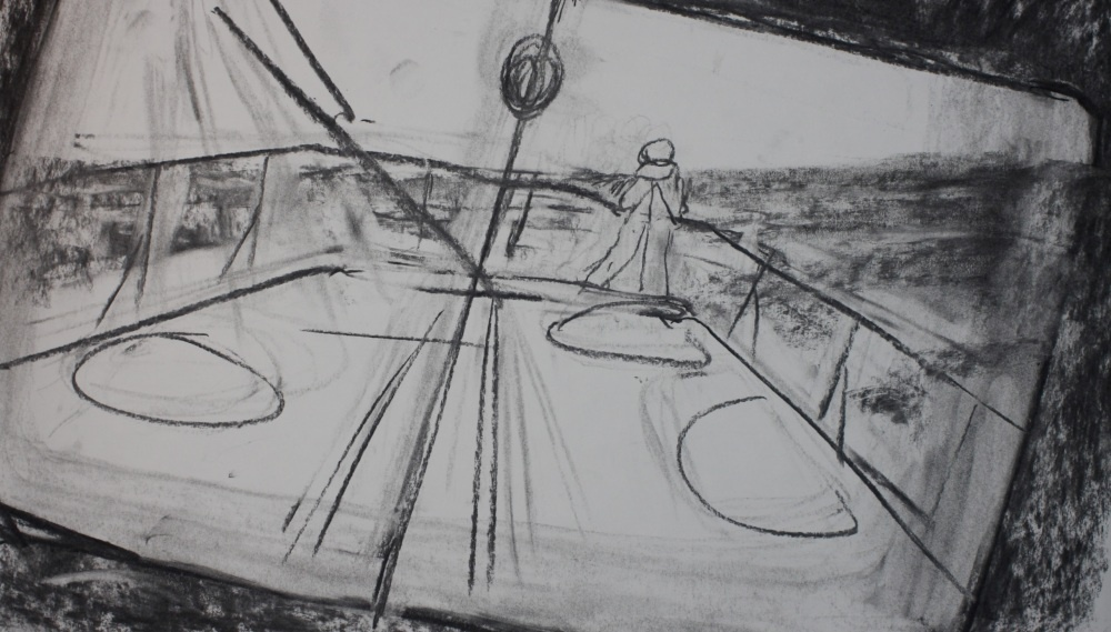a charcoal drawing of the top of a boat