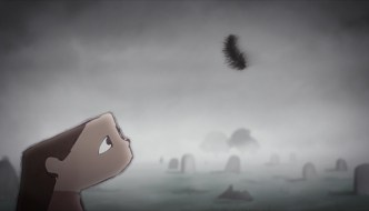 Still from Featherweight by Kayleigh Gibbons - an animated girl is looking as a feather falls from the sky
