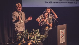 three people with awards at Two Short Nights at Exeter Phoenix