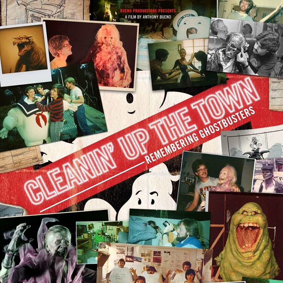 a mosaic of pictures from Ghostbusters with the words 'cleanin' up the town' going across it