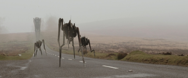 robots or spaceships are running down the road