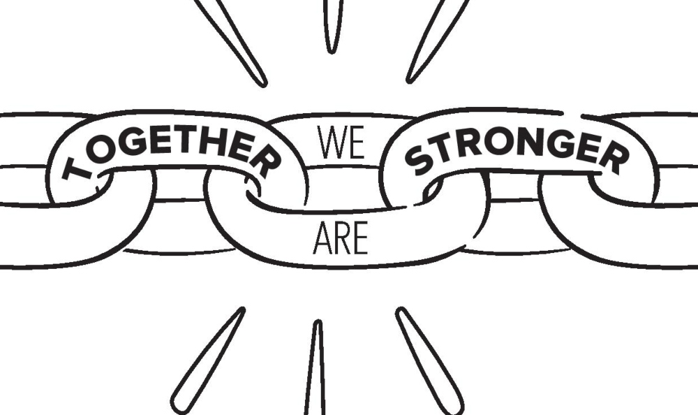 a cartoon of chain links with Together We Are Stronger written on them