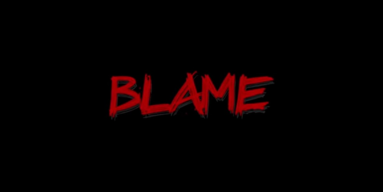the word 'blame' on a black background
