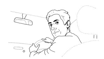 a line drawing of a man driving a car and looking over his shoulder