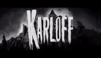 black and white, Karloff written in scary letters over a castle in the background